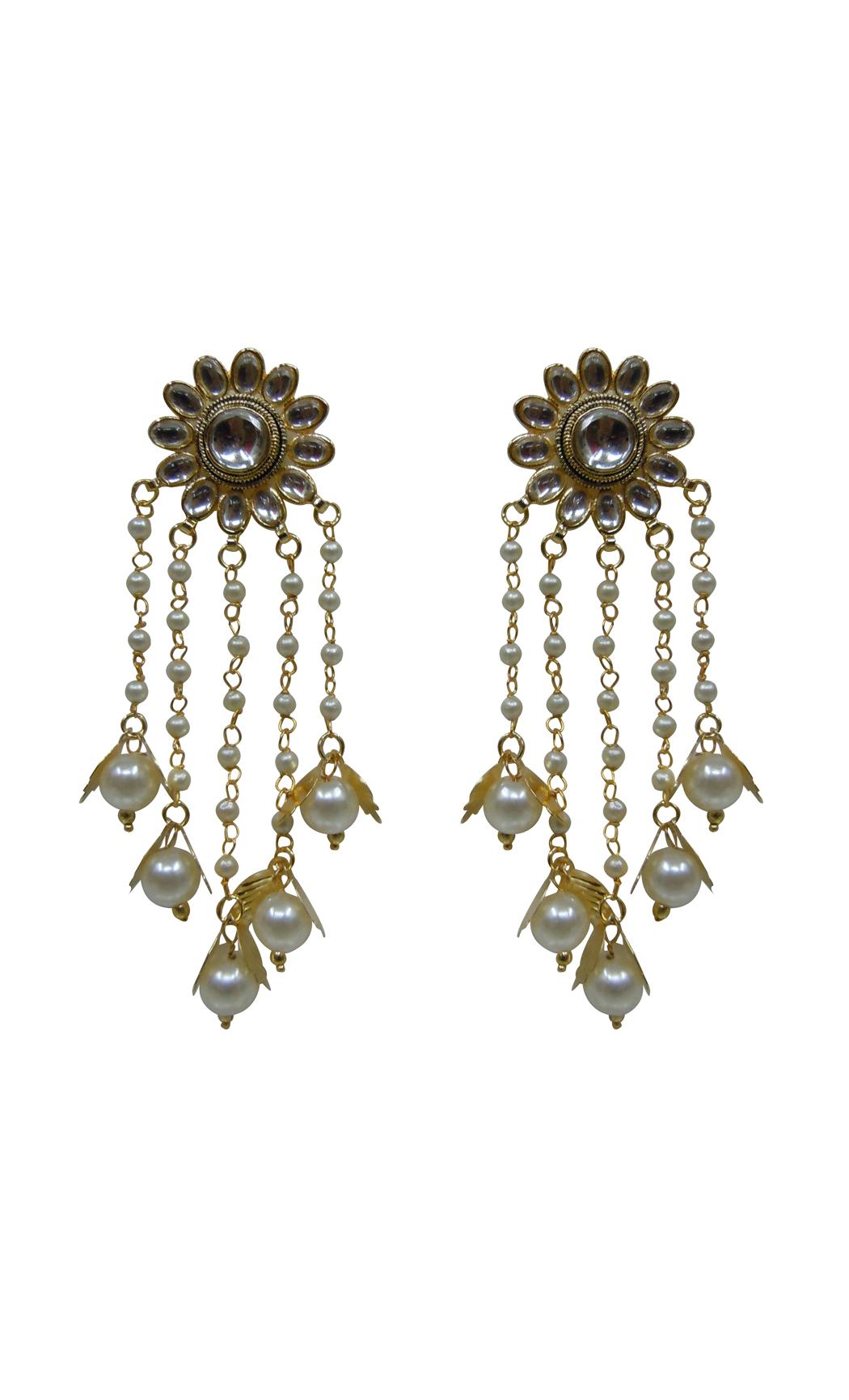 Kundan Pearl Shower Earrings - Shop Online