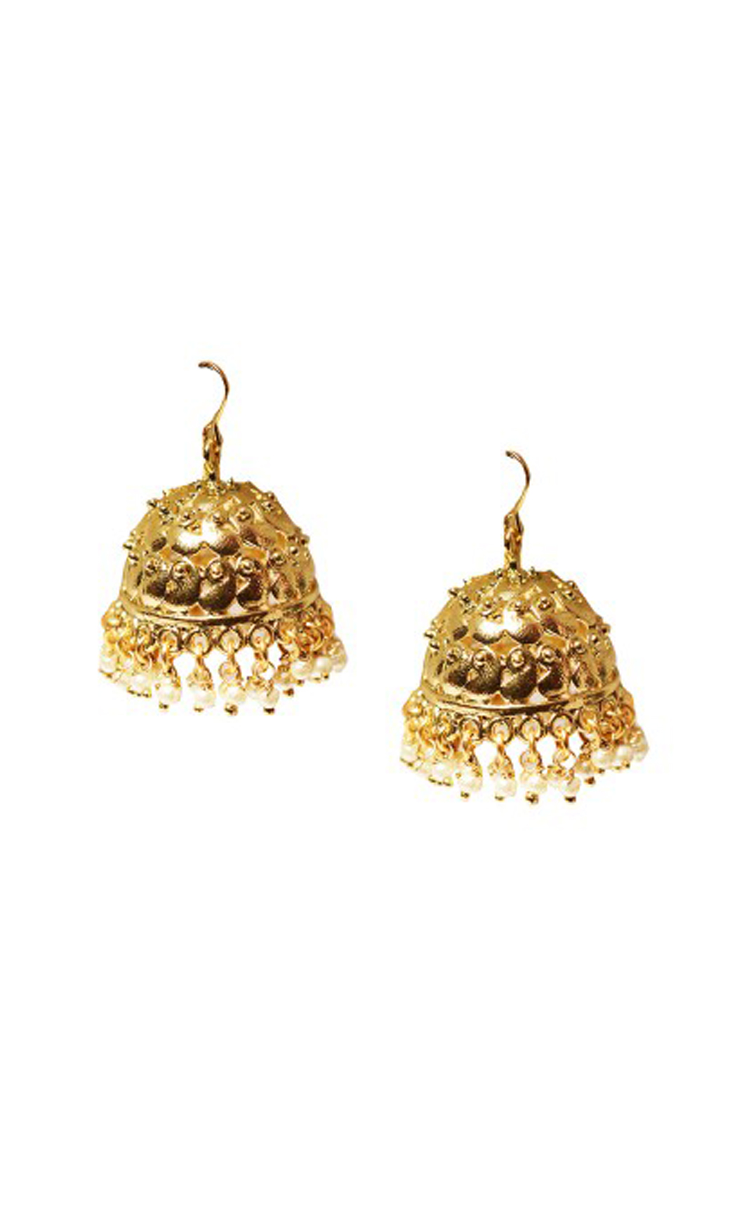Gold Toned Pearl Jhumkas - Shop Online