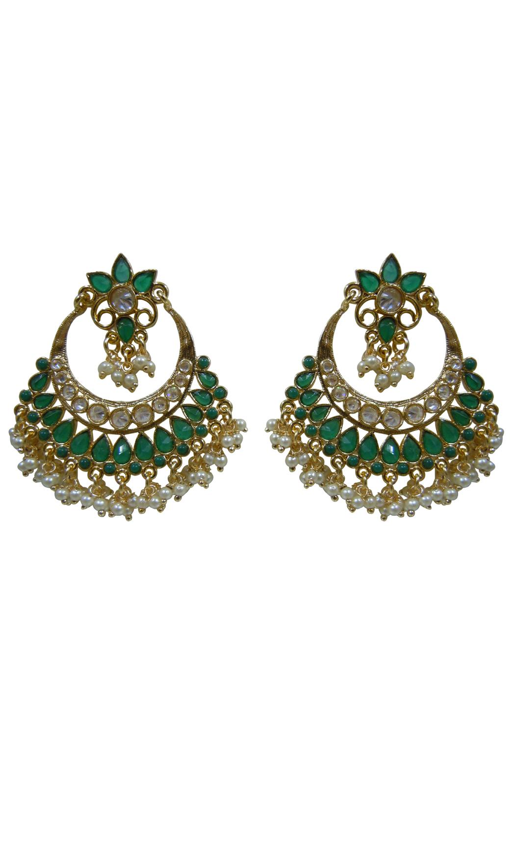 Emerald Chandbali Earrings - Shop Online