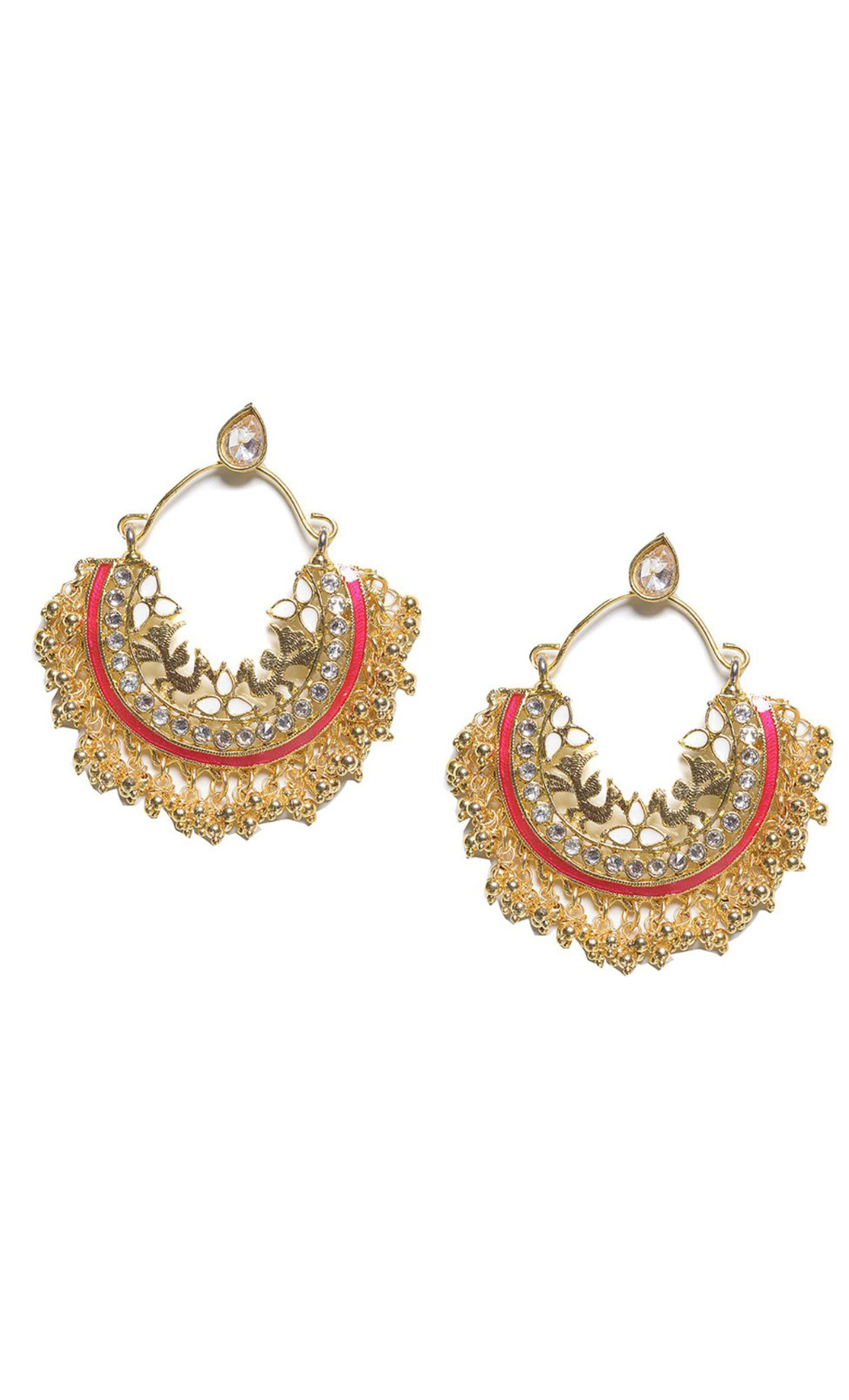 Fuschia Multi Crescent Chandbali Earrings - Shop Online