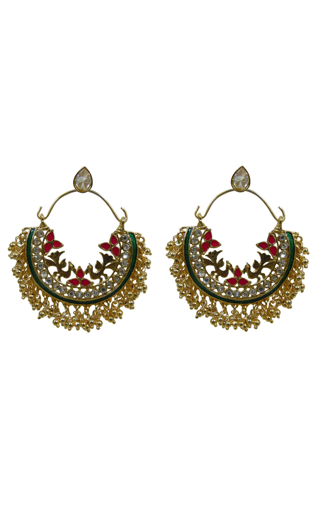 Green Multi Crescent Hoop Chandbali Earrings - Shop Online