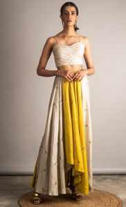 Gray and Yellow Dual Tone Embellished Skirt Set. Buy Online.