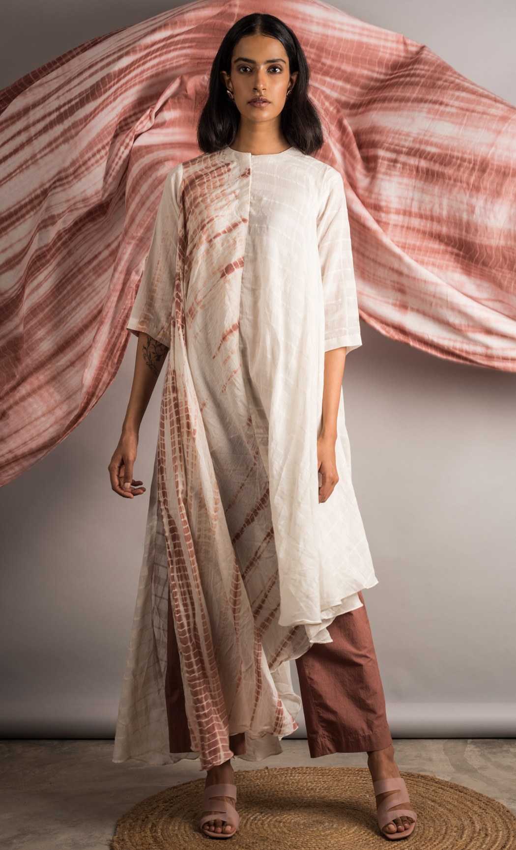 Off White and Mauve Asymmetric Half & Half Tunic and Pants Set. Buy Online.
