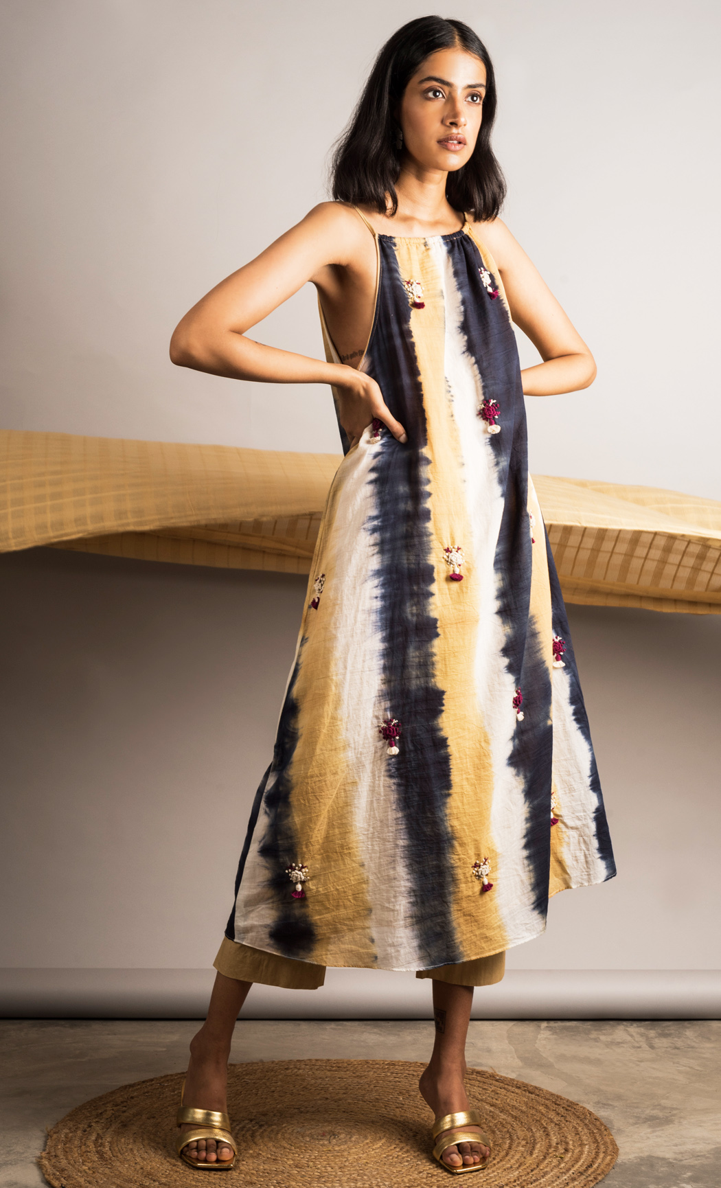 Multicolor Striped Tie-dye Embroidered Dress. Buy Online.