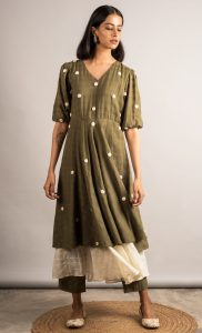 Moss Green Layered Tunic and Pants Set. Buy Online.