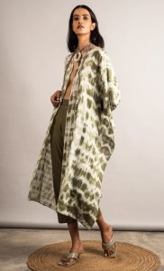 Moss Green and Off White Tie-Dye Overlay and Pants Set. Buy Online.