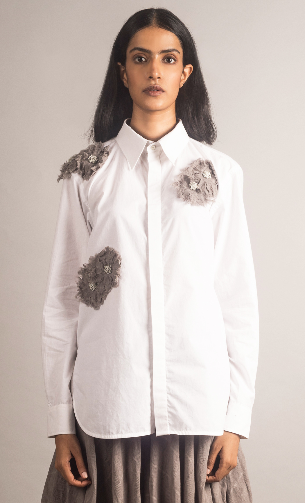 White Embellished Poplin Shirt. Buy Online.