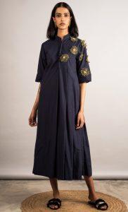 Blue Half Pleated Embellished Dress. Buy Online.