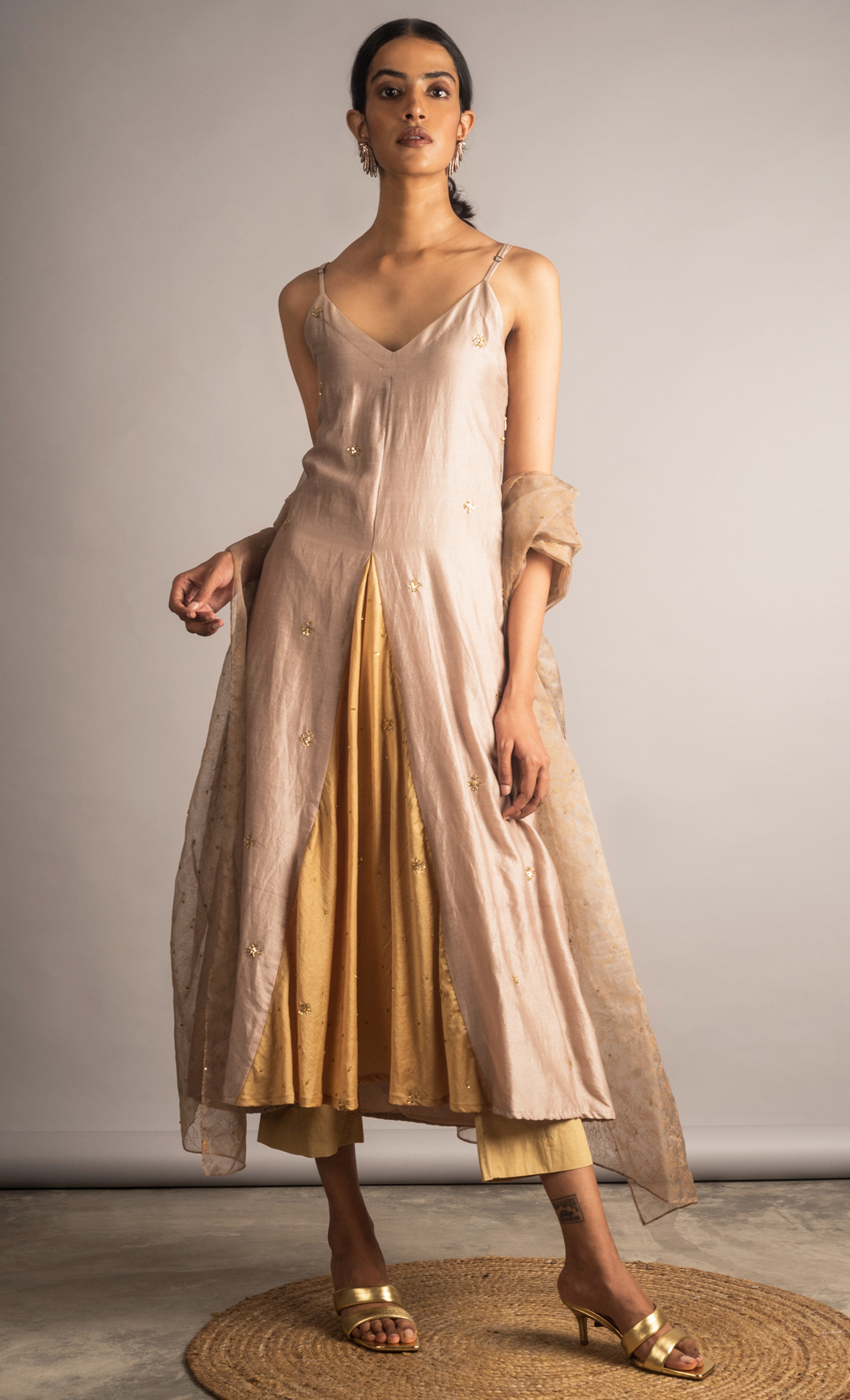 Taupe and Yellow Embellished Panel Tunic Set. Buy Online.