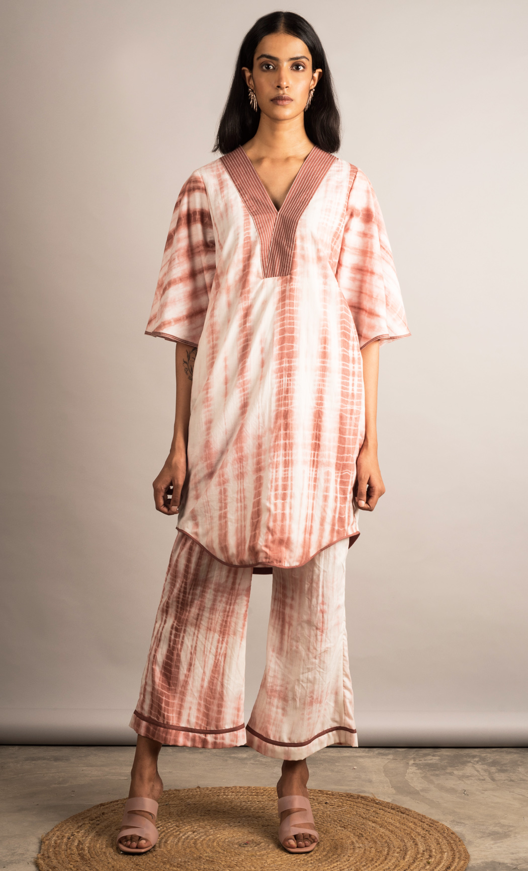 Off White and Brown Tie-dye Co-ord Set. Buy Online.