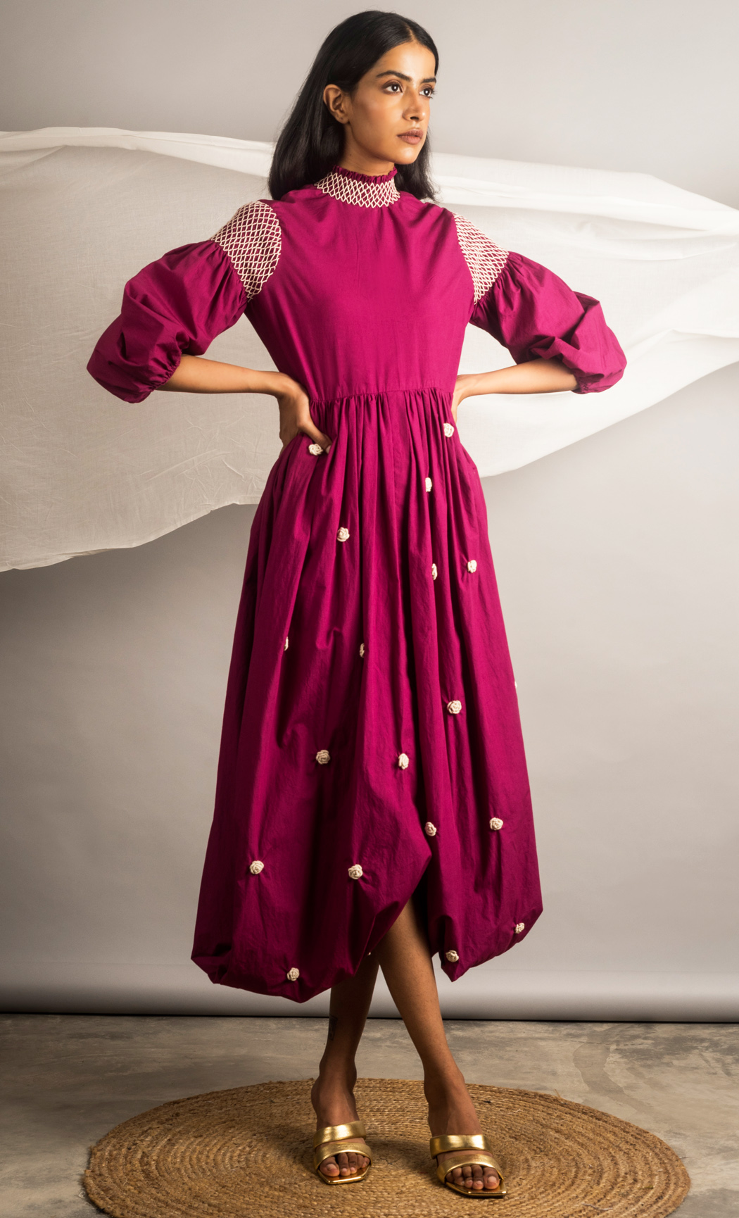 Magenta Cowl Embroidered Dress. Buy Online.