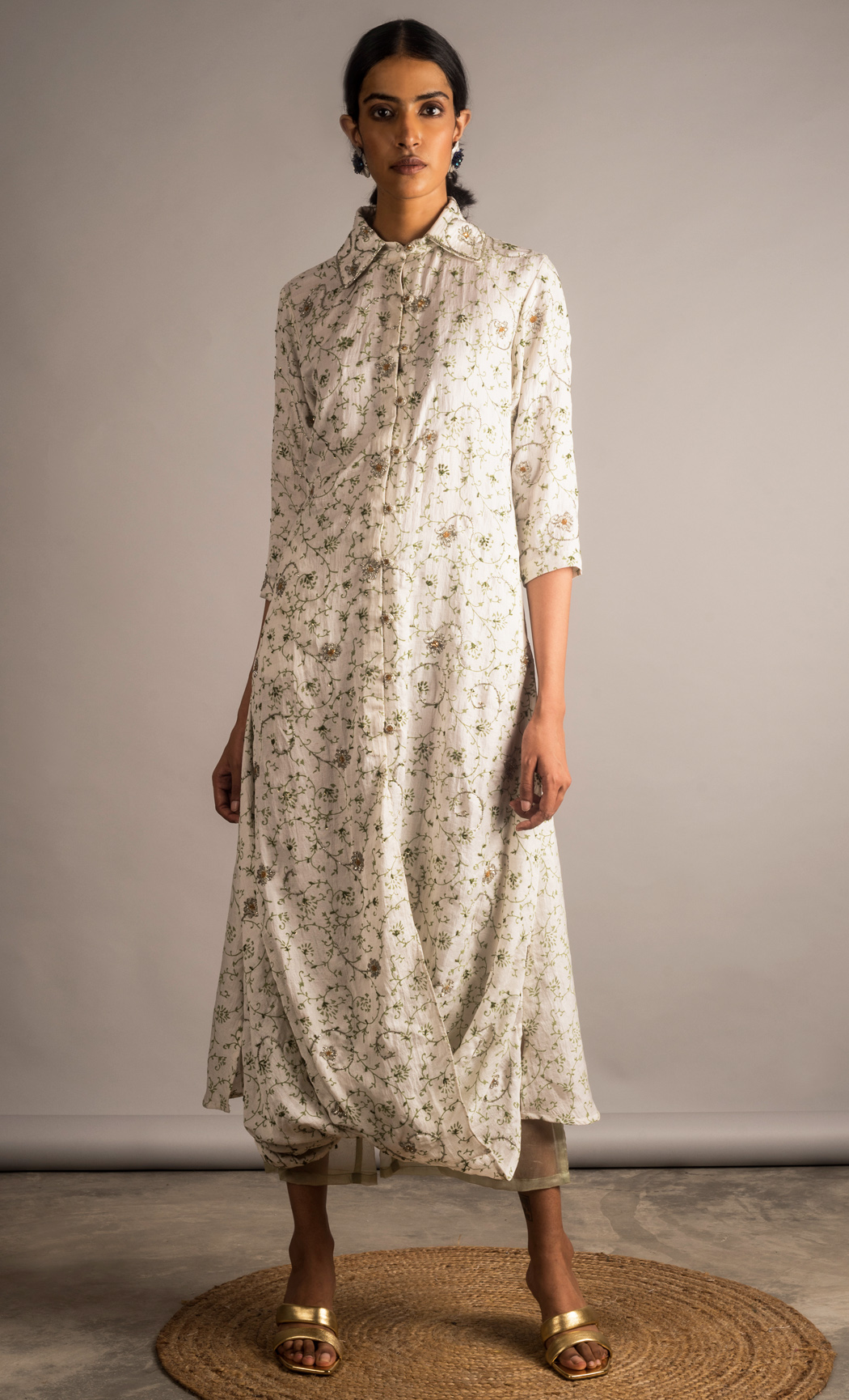 Off White Embroidered Front Cowl Tunic Set. Buy Online.