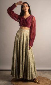 Pistyachio and Plum Embroidered Lehenga Skirt Set. Buy Online.