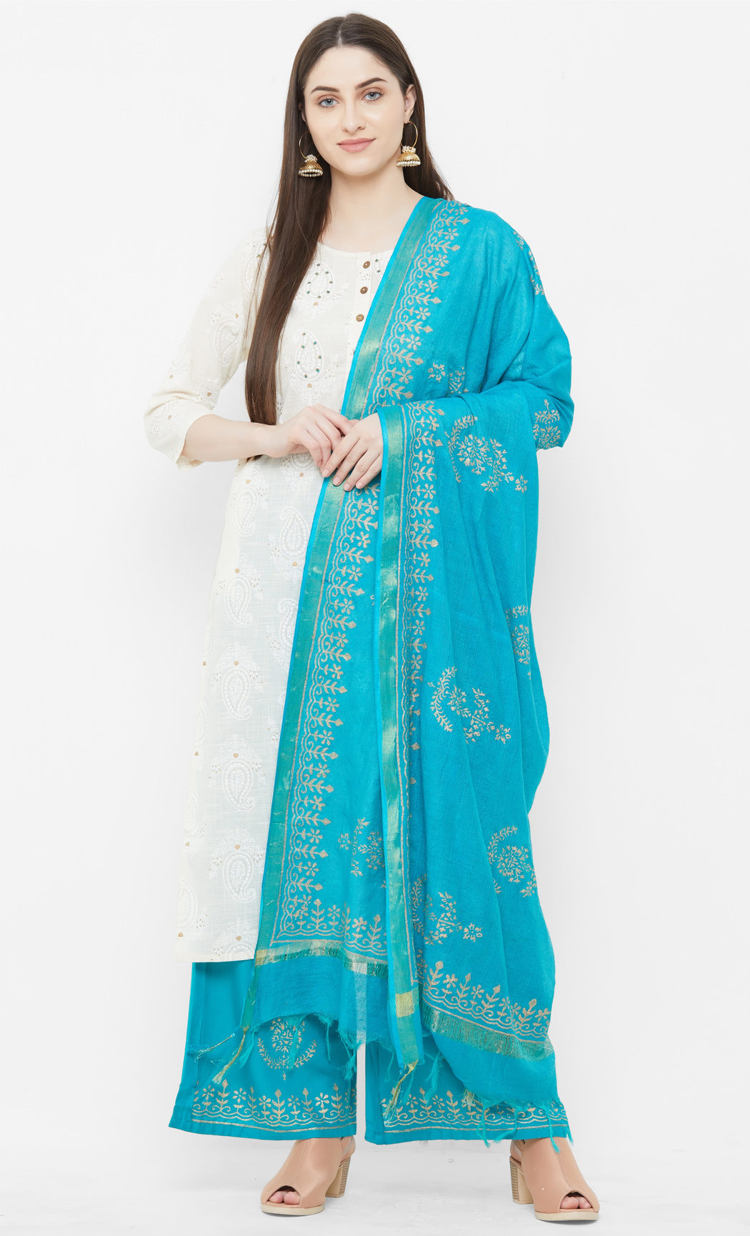 Beige and Blue Kurta and Palazzo Set. Buy Online