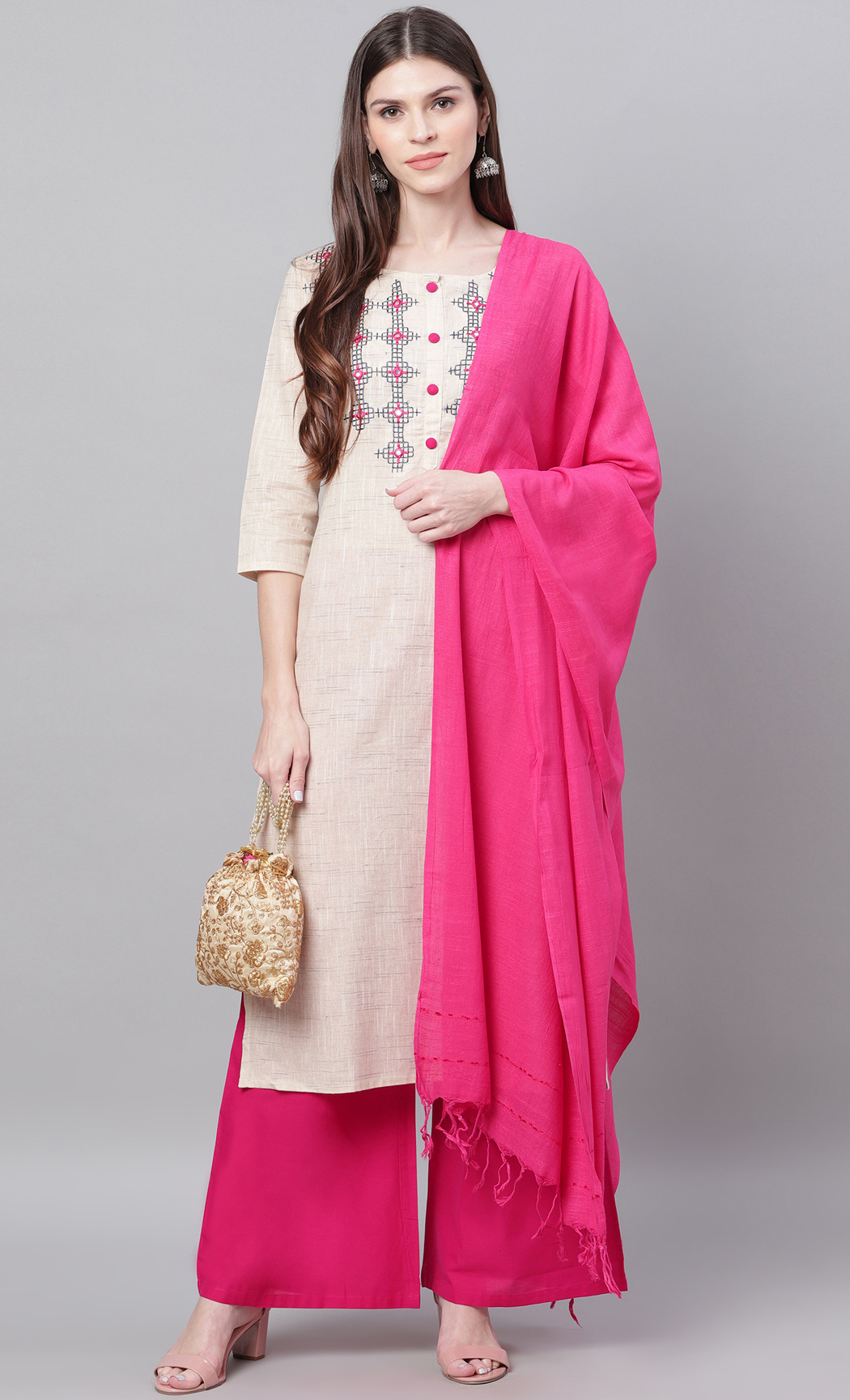 Beige and Pink Kurta and Palazzo Set. Buy Online