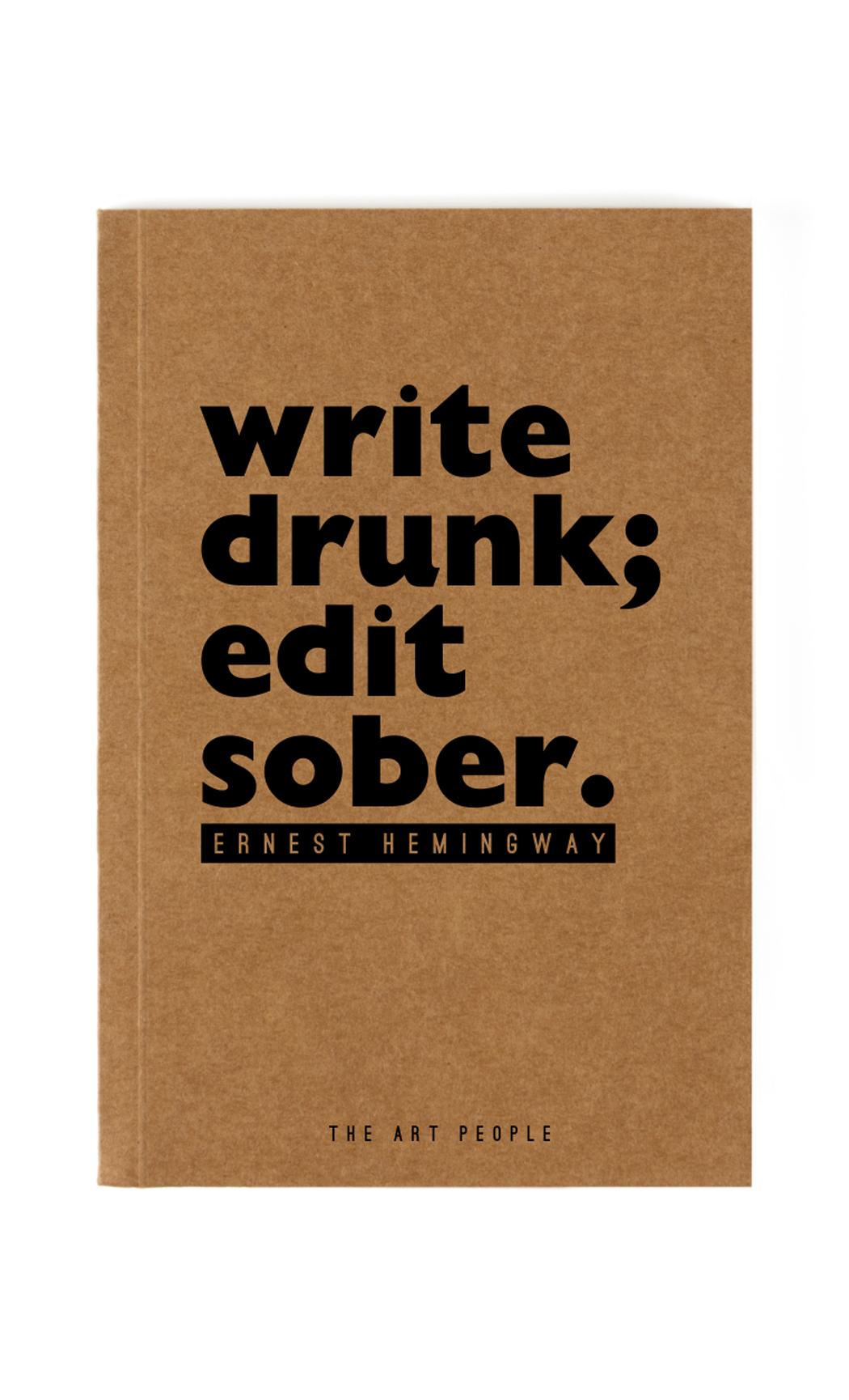 Brown Write Drunk Notebook. Buy Online.