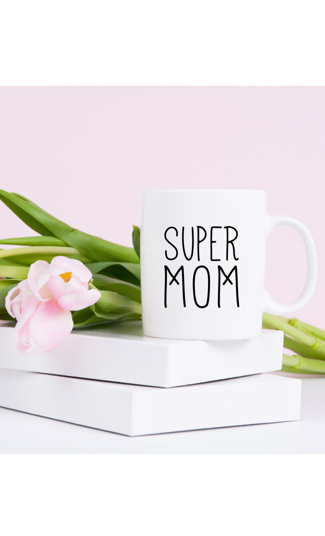 White Super Mom Mug. Buy Online.