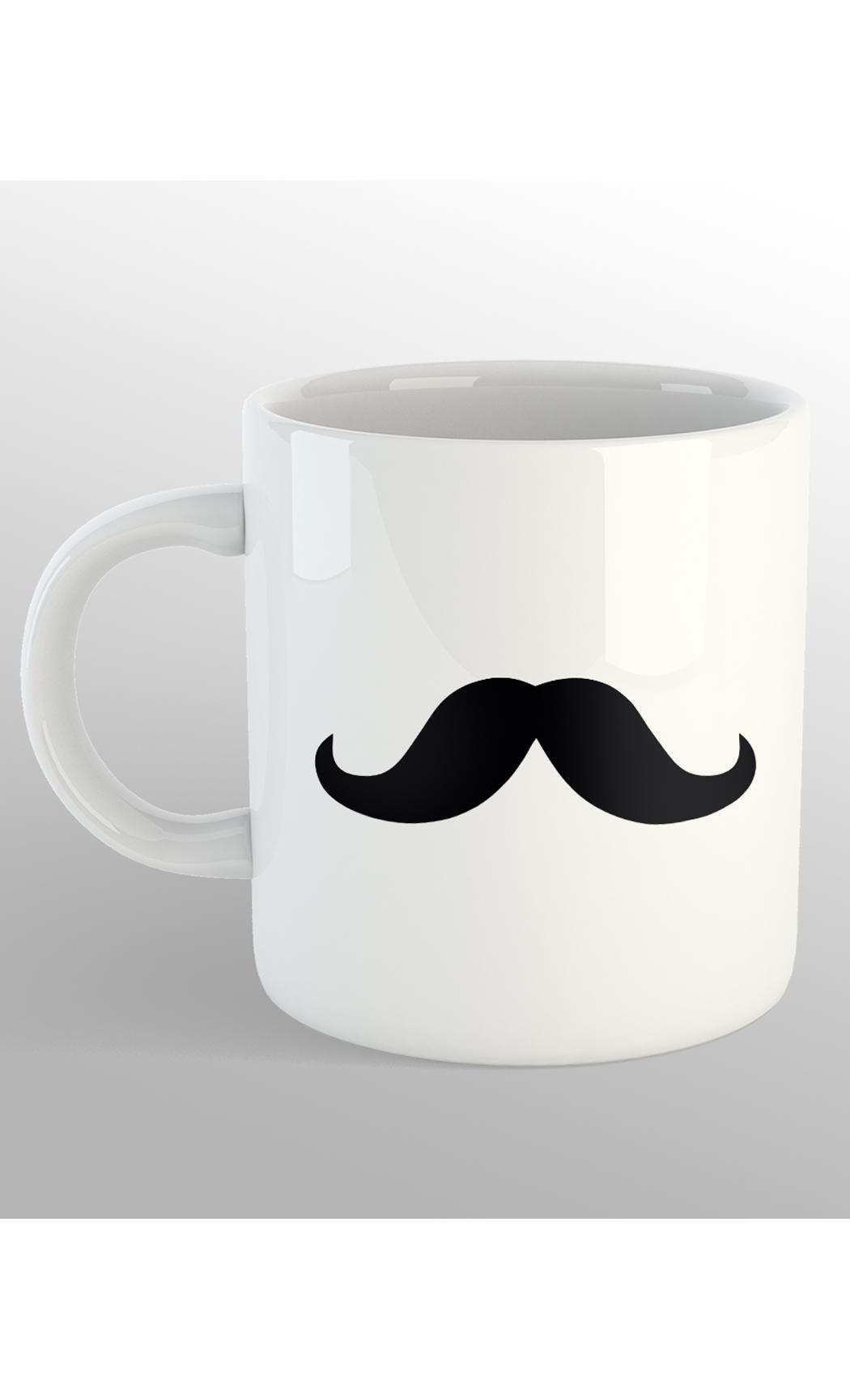 White Moustache Mug. Buy Online.