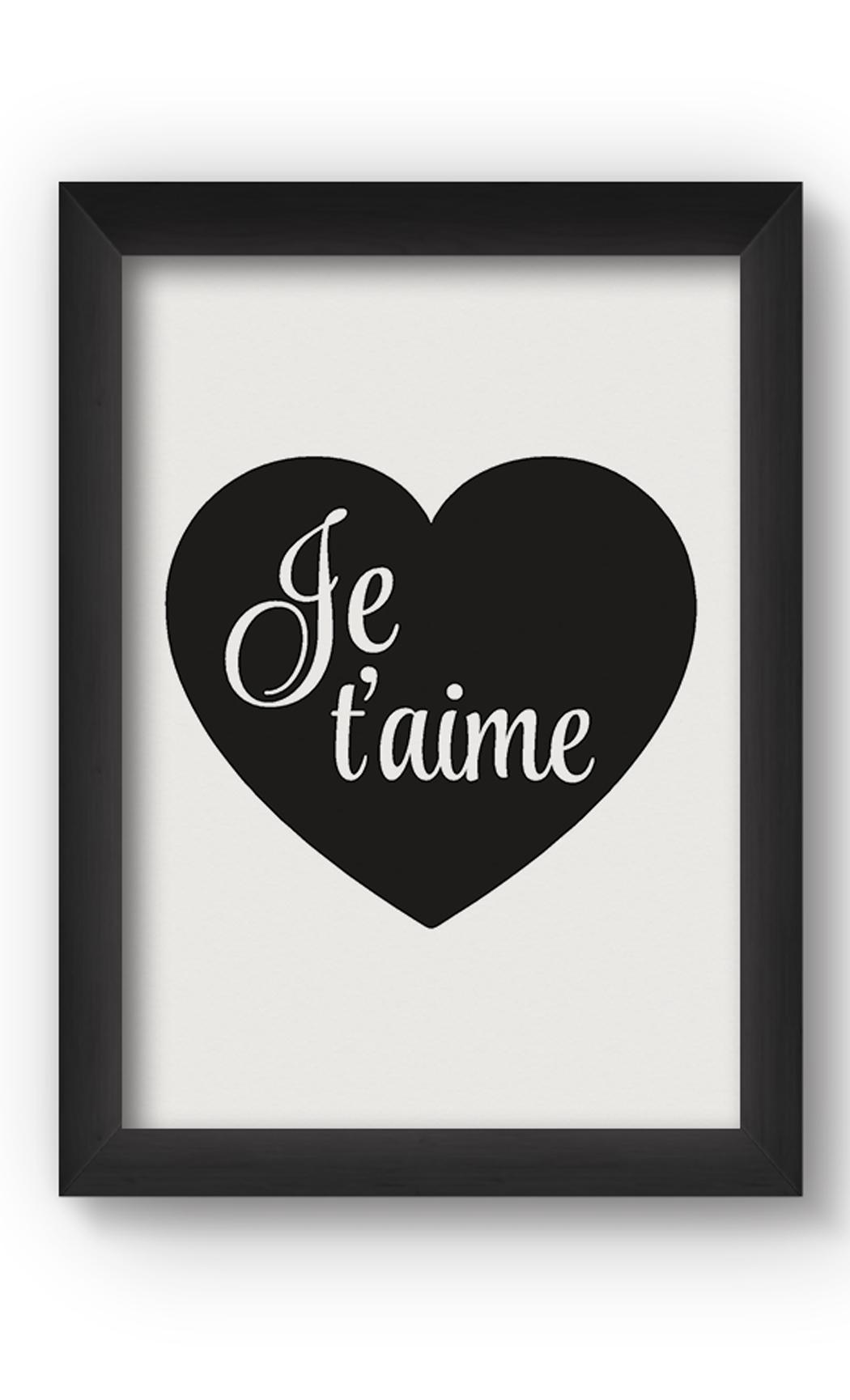 Black & White JE TAIME Poster. Buy Online.