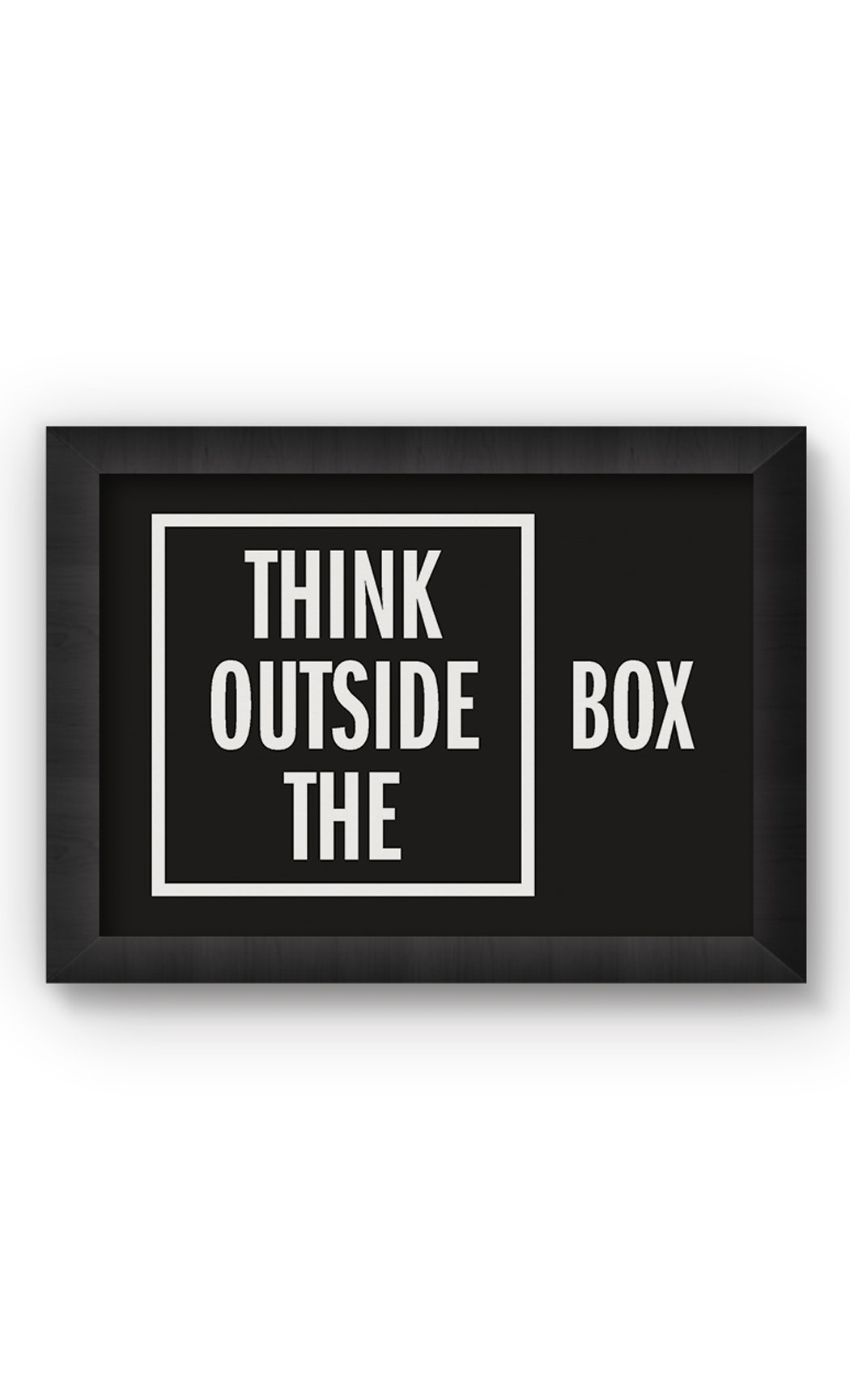 Black & White THINK OUTSIDE THE BOX Poster. Buy Online.