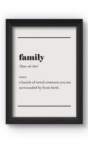 Black & White FAMILY Poster. Buy Online.