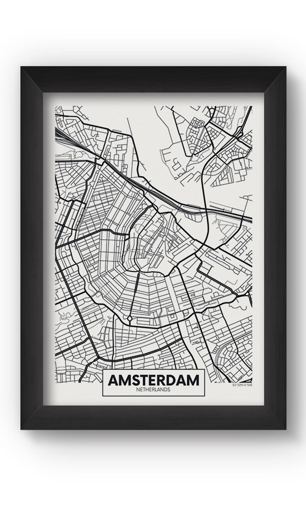 Black & White AMSTERDAM MAP Poster. Buy Online.