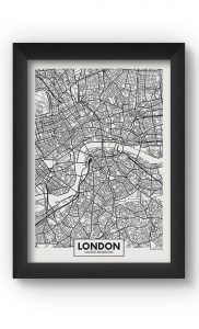 Black & White LONDON MAP Poster. Buy Online.