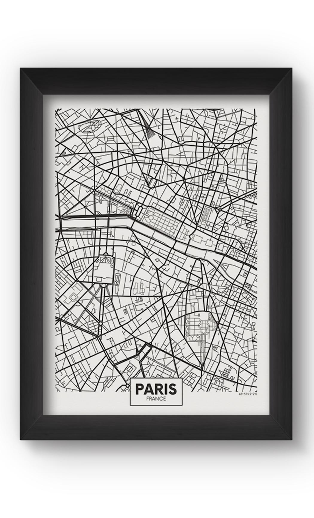 Black & White PARIS MAP Poster. Buy Online.