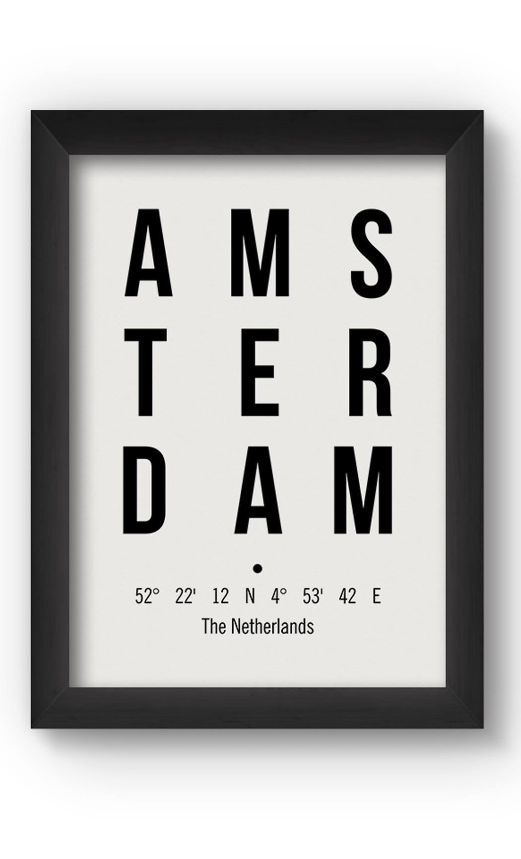 Black & White AMSTERDAM Poster. Buy Online.