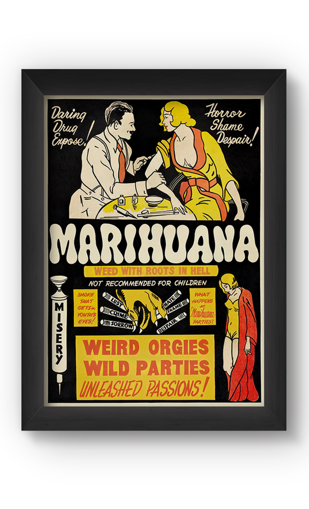 Multicolor MARIHUANA VINTAGE Poster. Buy Online.