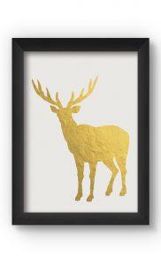 White &Gold DEER Poster. Buy Online.