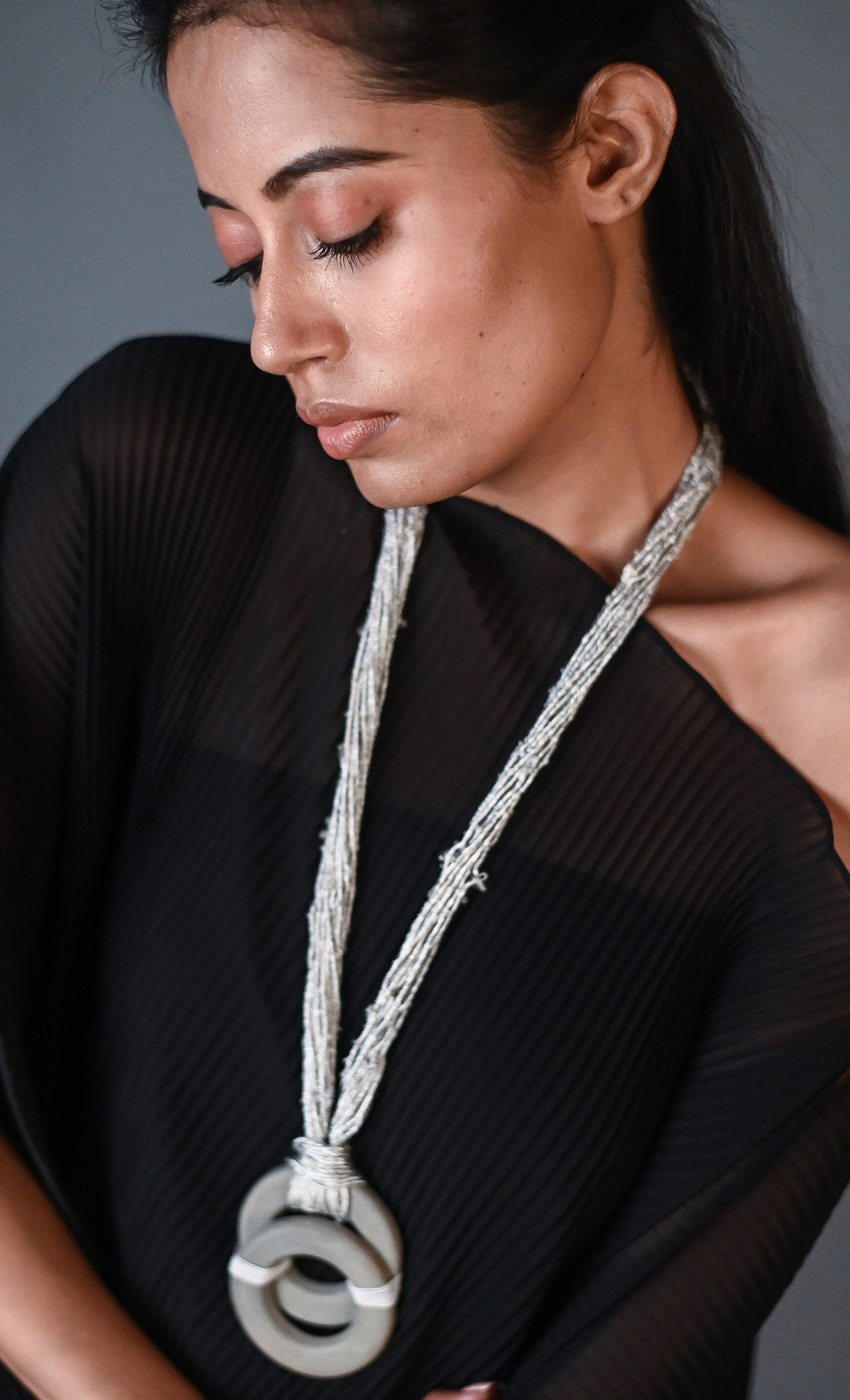 Grey Cori Long Statement Necklace - Buy Online