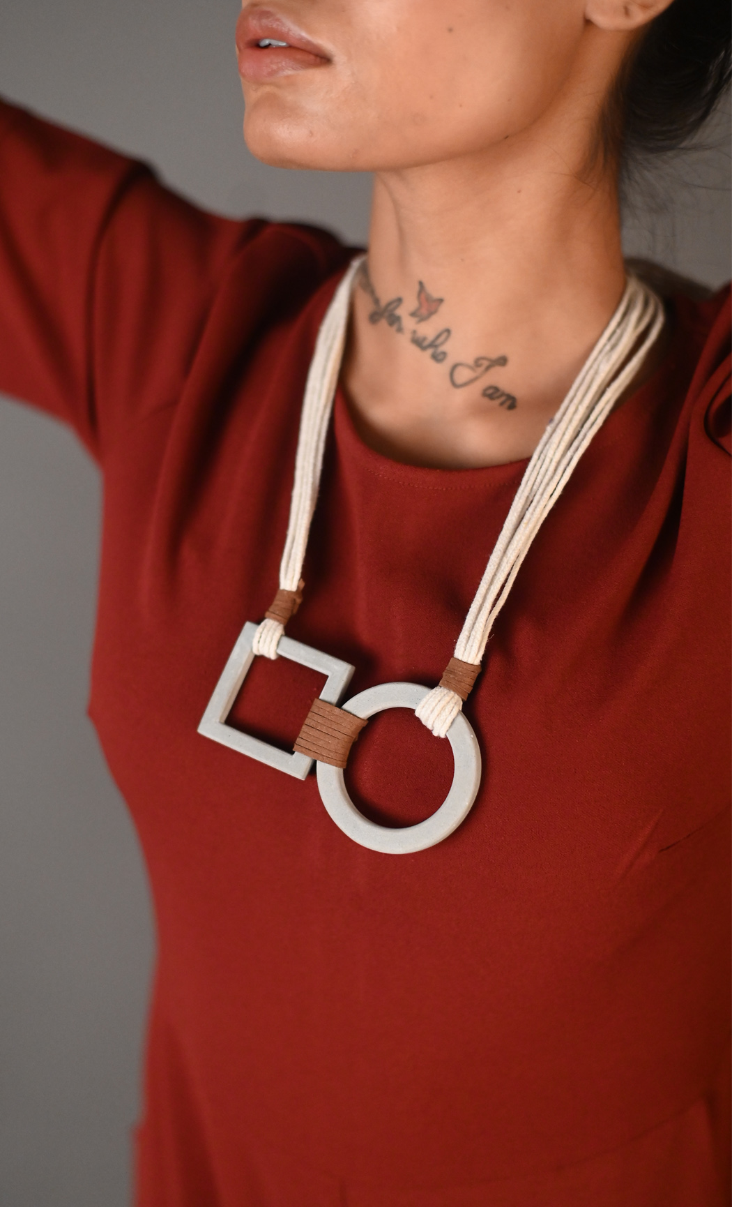 Grey Squircle Long Statement Necklace - Buy Online