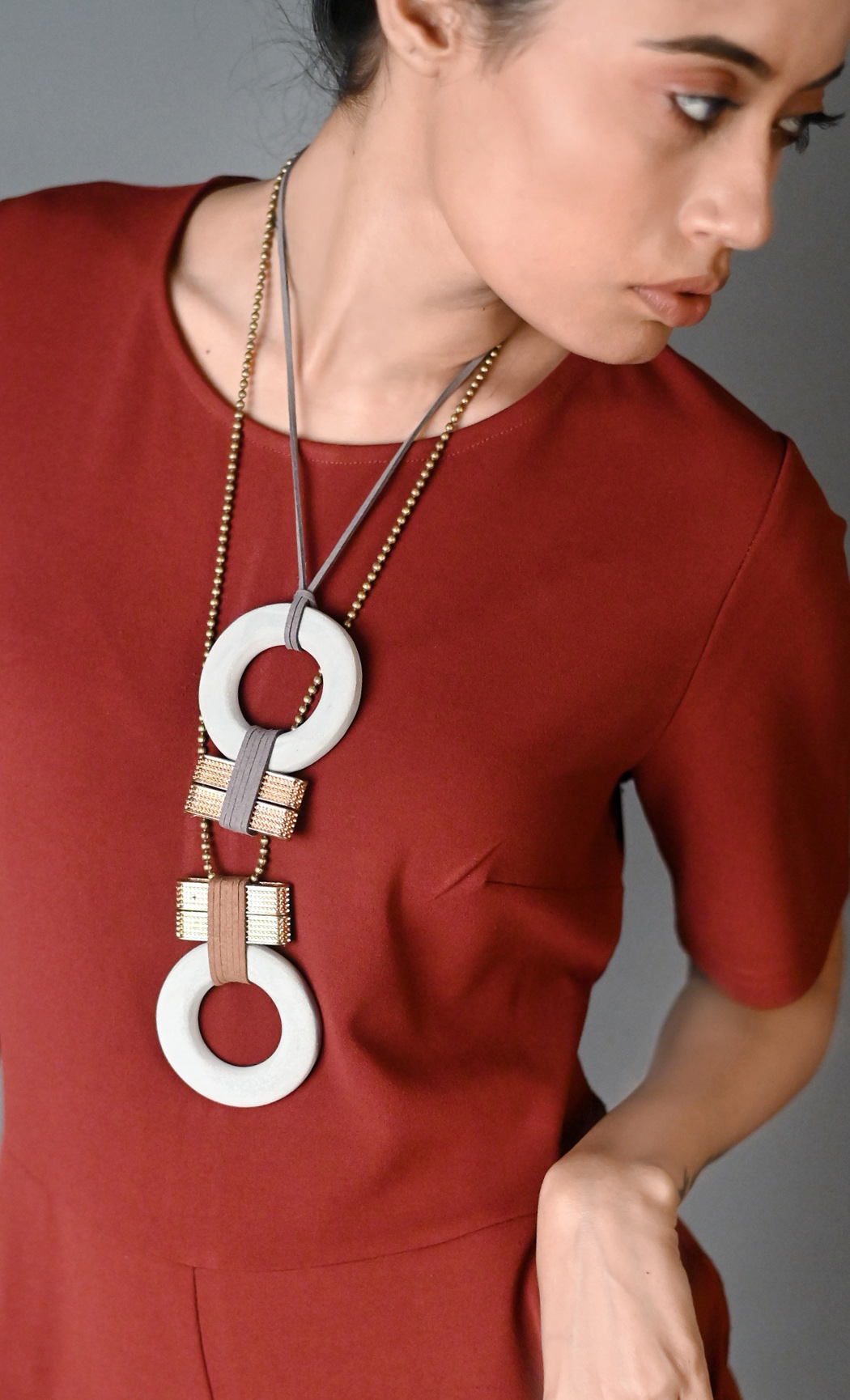 Grey Torus Long Statement Necklace - Buy Online