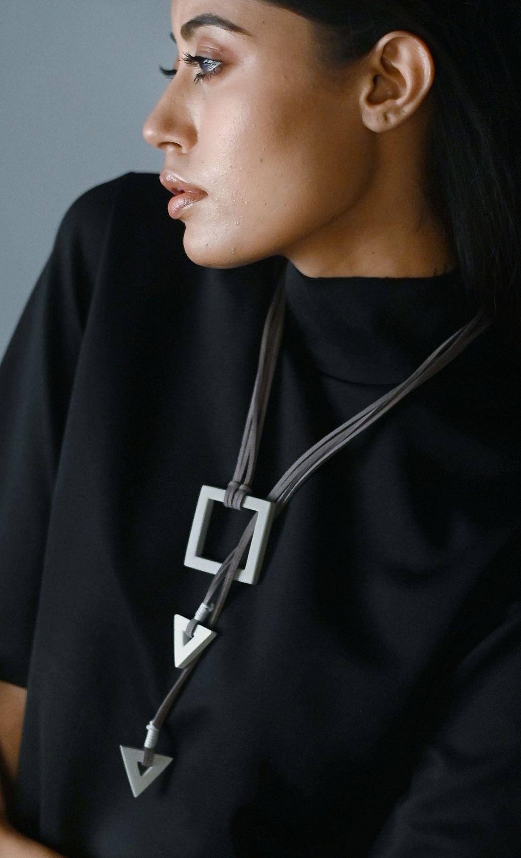 Grey Trudy Long Statement Necklace - Buy Online