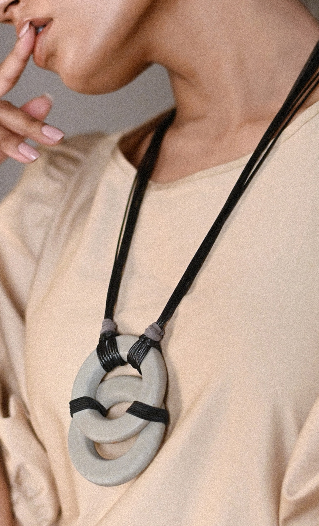 Black Vesica Long Statement Necklace - Buy Online