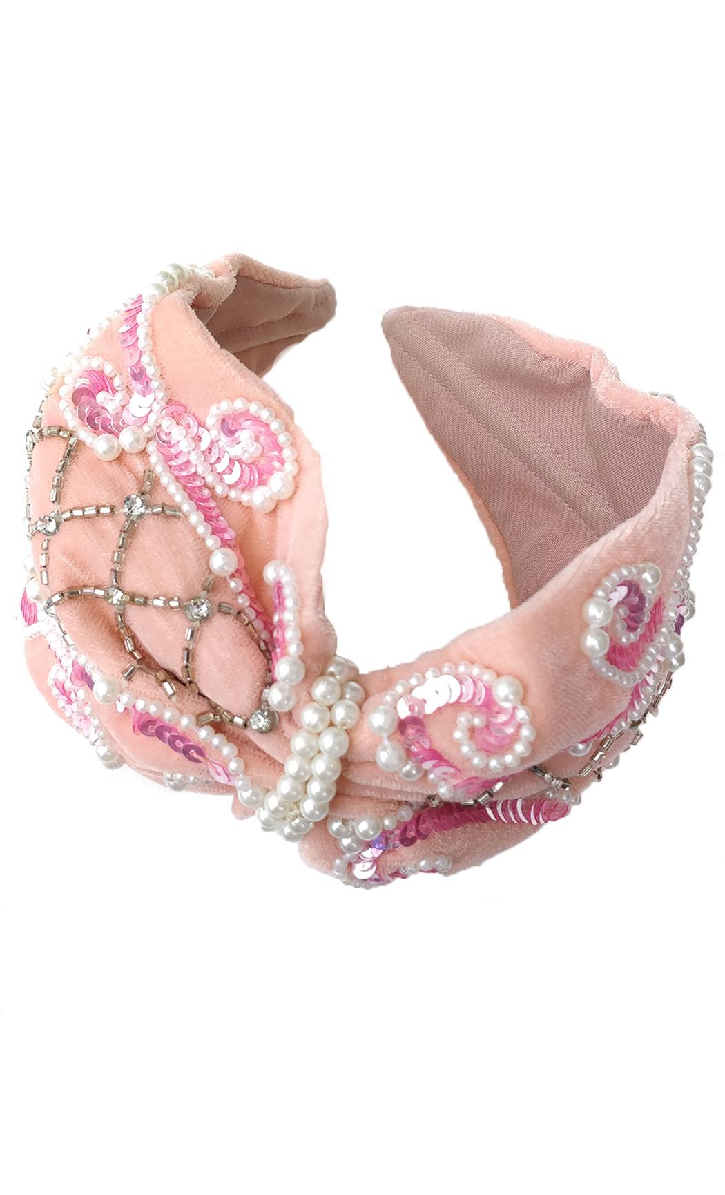 Peach Velveteen Pearl Hairband. Buy Online
