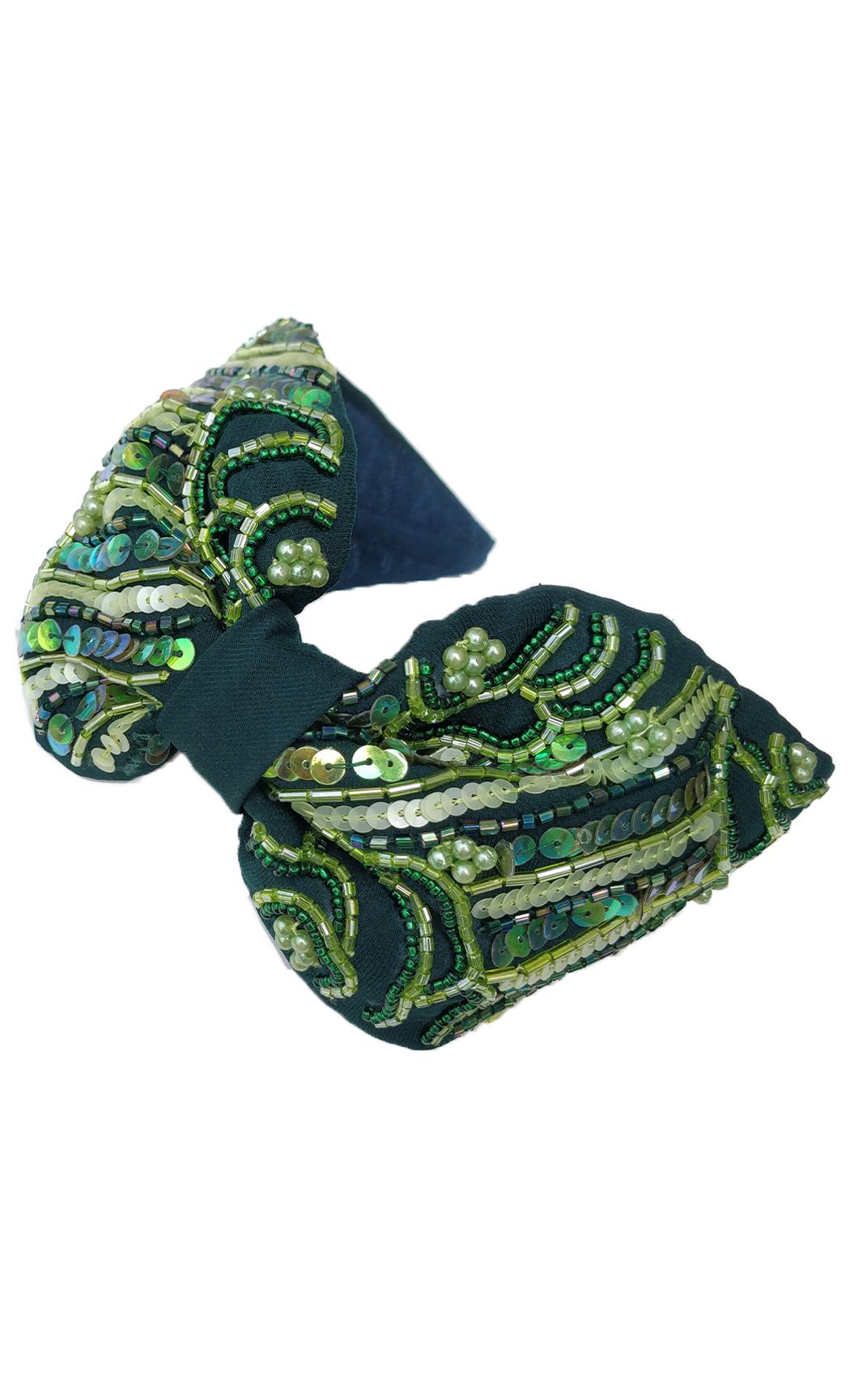 Dark Green Pearl Hairband. Buy Online