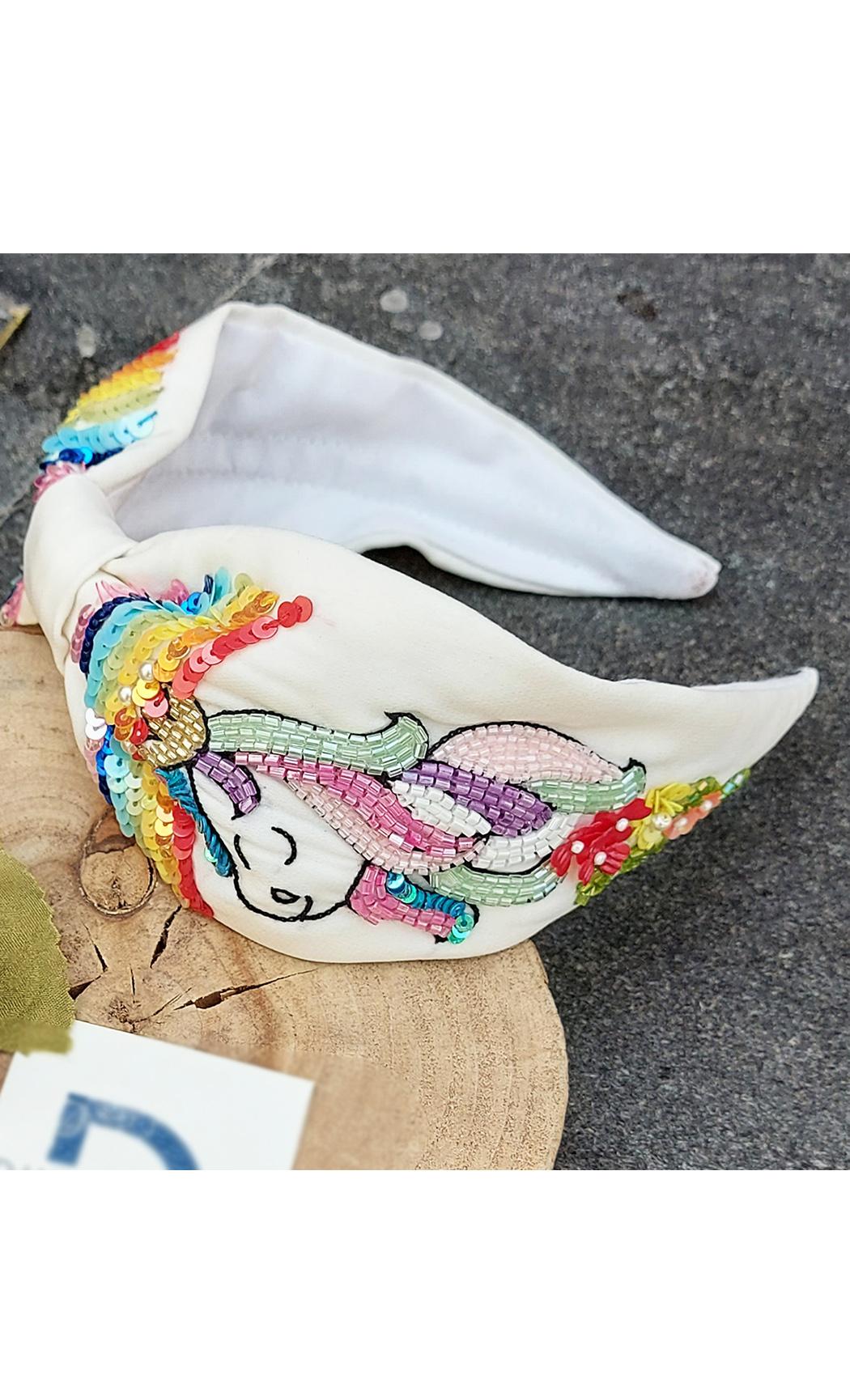White Rainbow unicorn Hairband. Buy Online