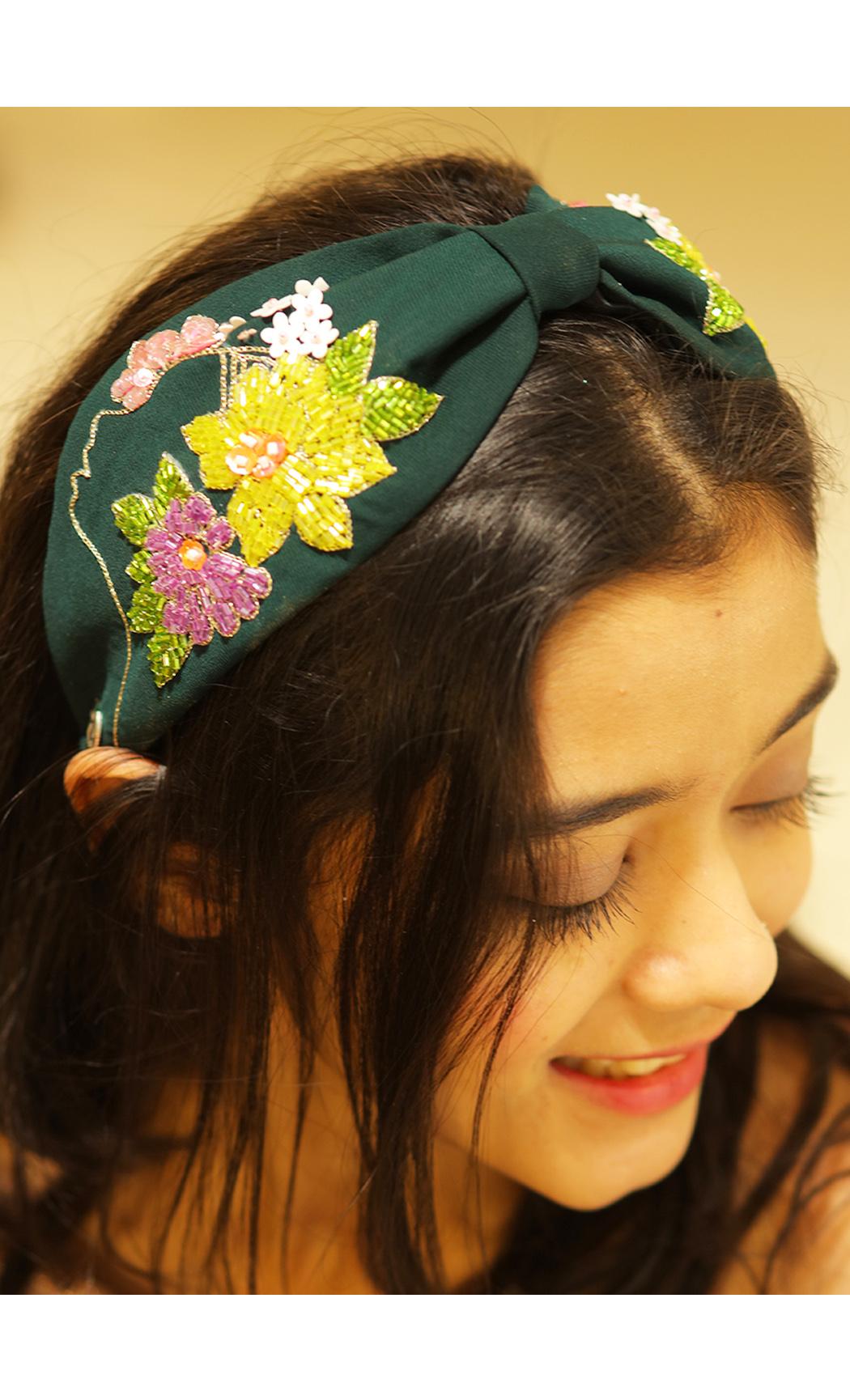 Green Flower Girl Hairband. Buy Online
