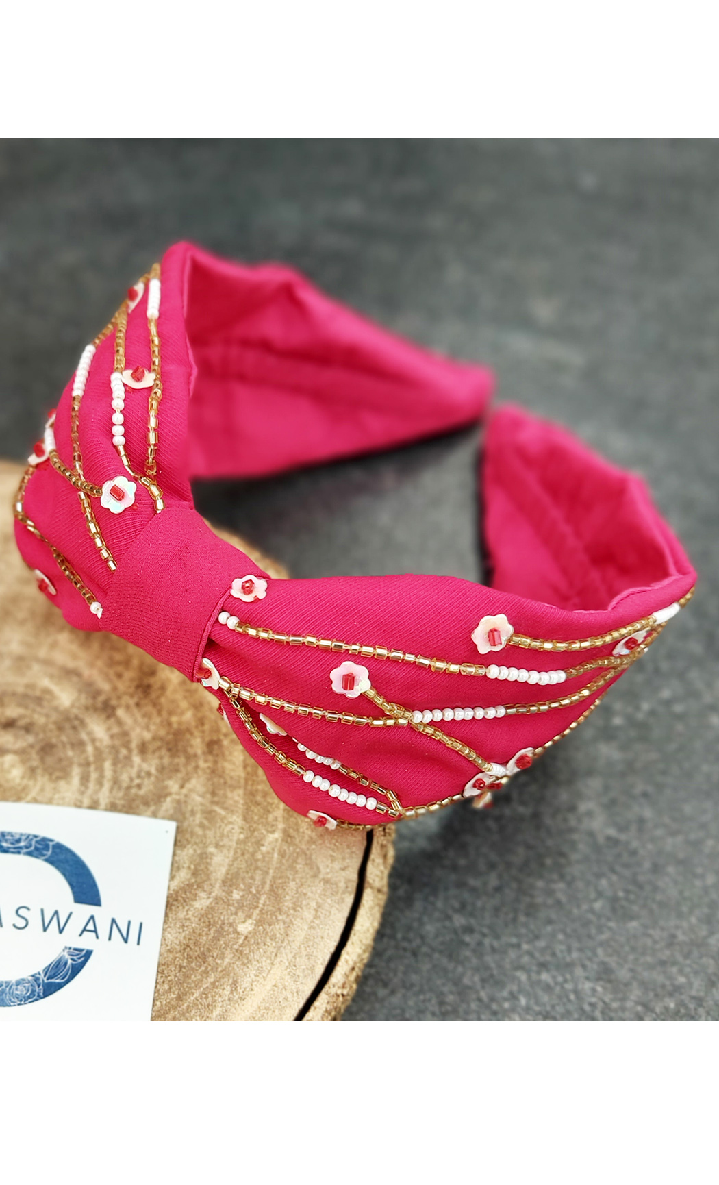 Fuscia Pink Abstract Lines Hairband. Buy Online