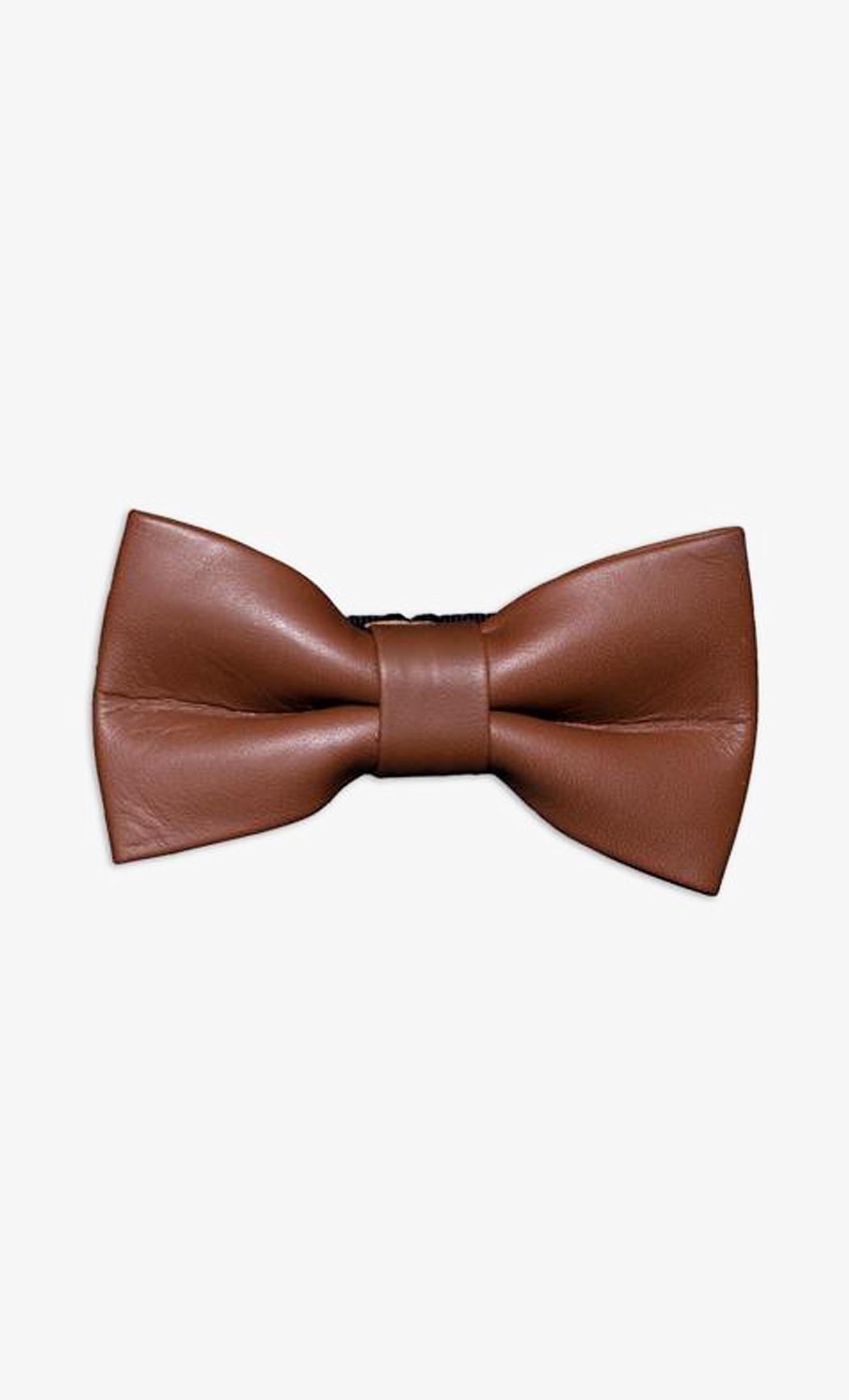 Dark Brown Genuine Leather Bow Tie. Buy Online
