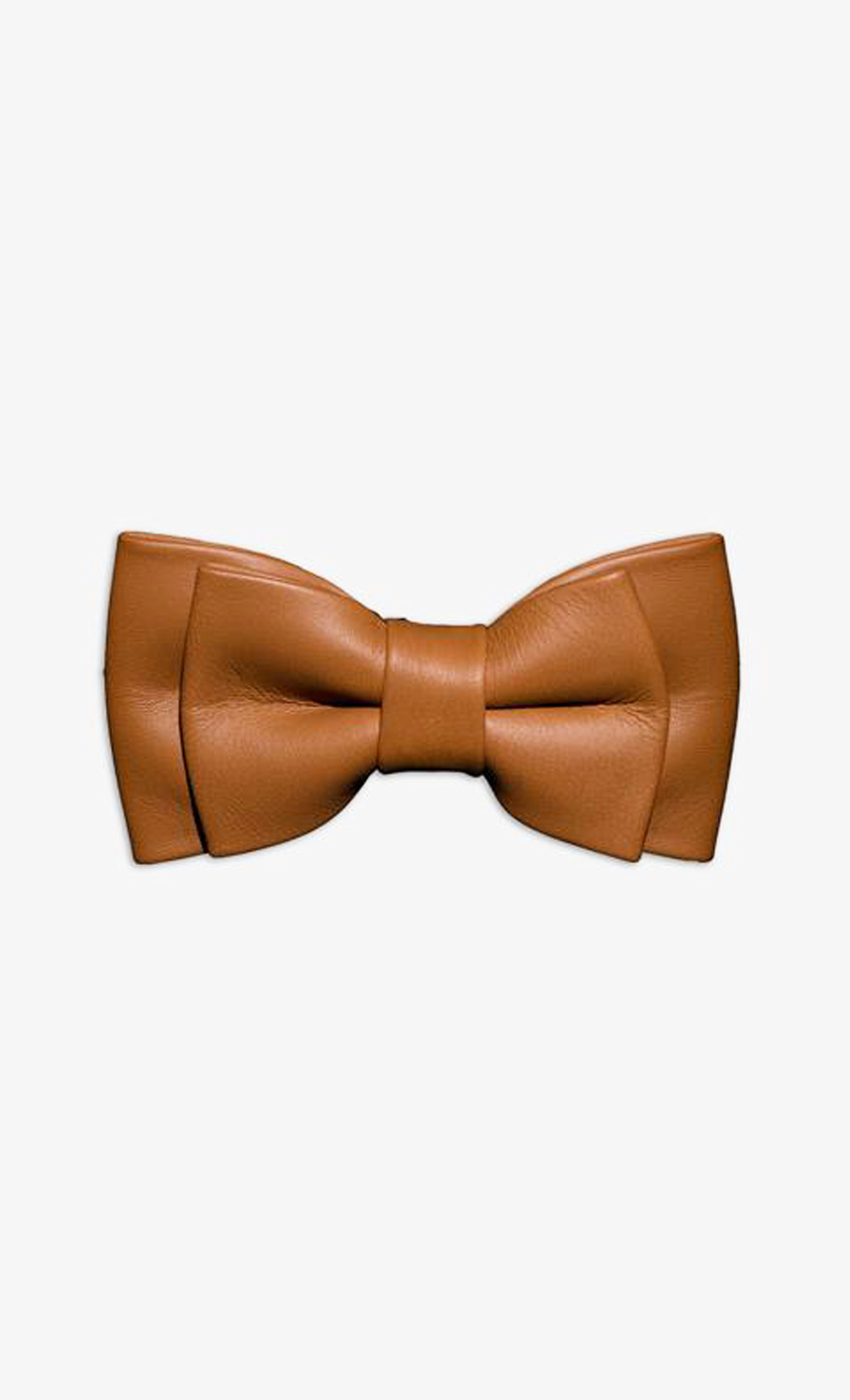 Light Brown Genuine Leather Twin Narrow Bow Tie. Buy Online