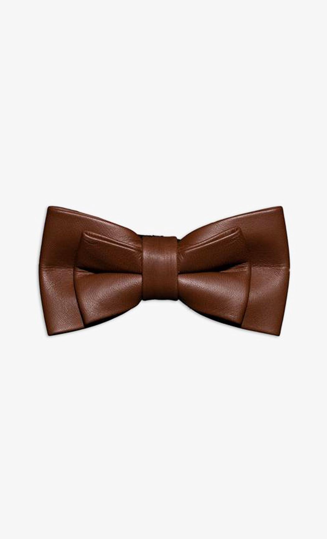 Dark Brown Genuine Leather Twin Narrow Bow Tie. Buy Online
