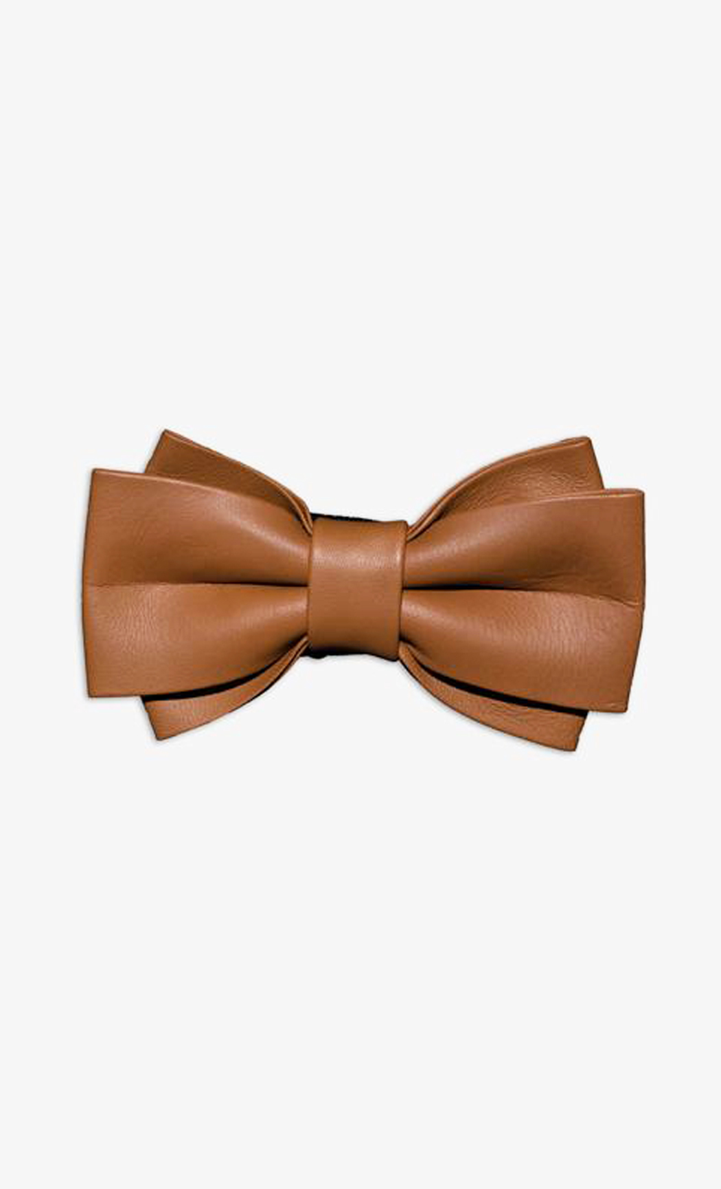 Light Brown Genuine Leather Twin Wide Bow Tie. Buy Online