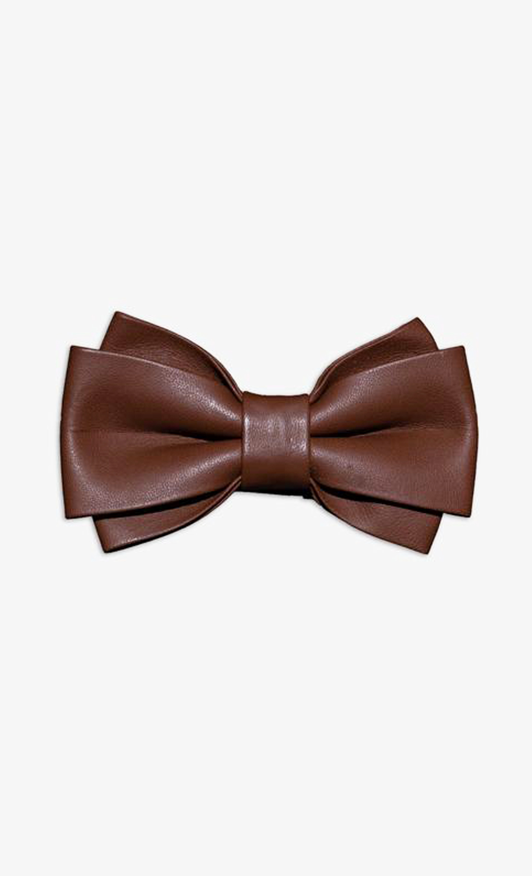 Dark Brown Genuine Leather Twin Wide Bow Tie. Buy Online