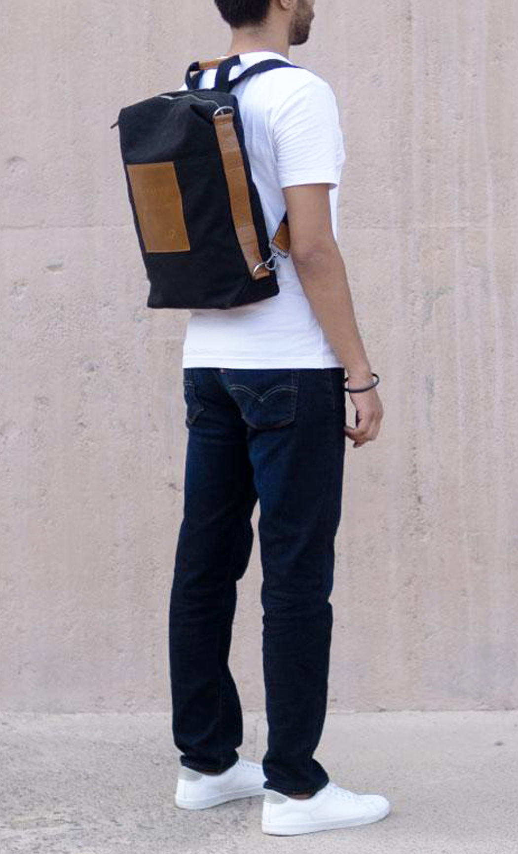 Black Latitude Canvas and Leather Laptop Convertible Backpack. Buy Online