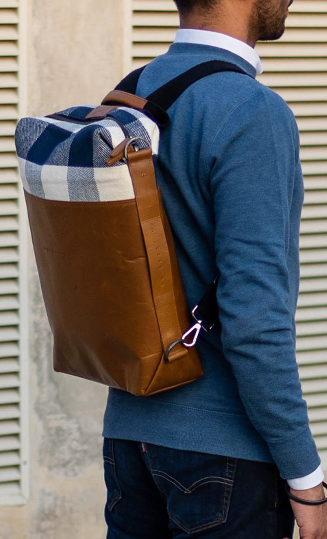Blue and White Checks Brown Leather Laptop Convertible Backpack - Buy Online
