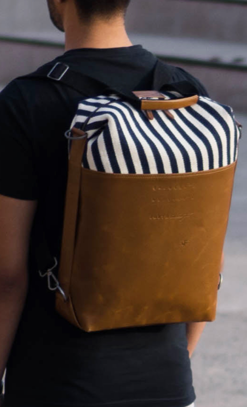 Blue and White Stripes Brown Leather Laptop Convertible Backpack - Buy Online