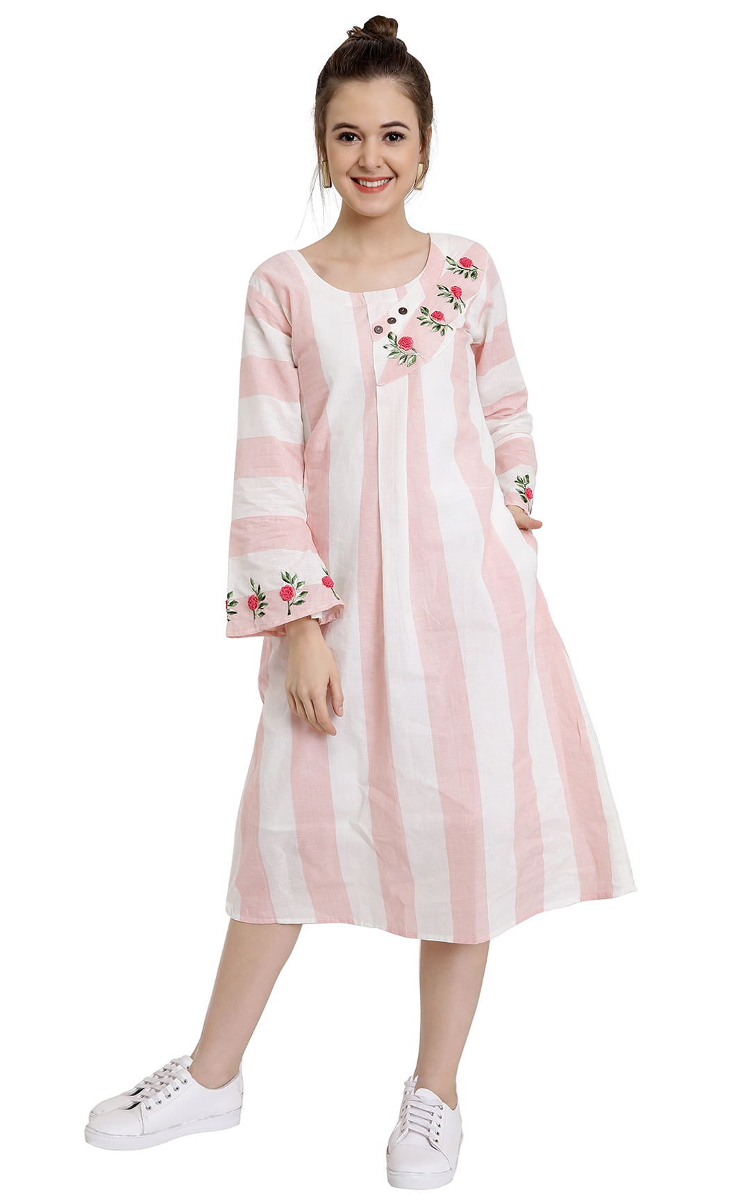 Pink and White Striped Dress. Buy Online